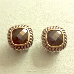 Jewelry - Cable earrings with black gem
